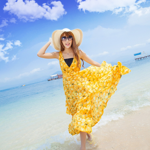 Beach beach dress V-neck slim bohemia full dress chiffon one-piece dress