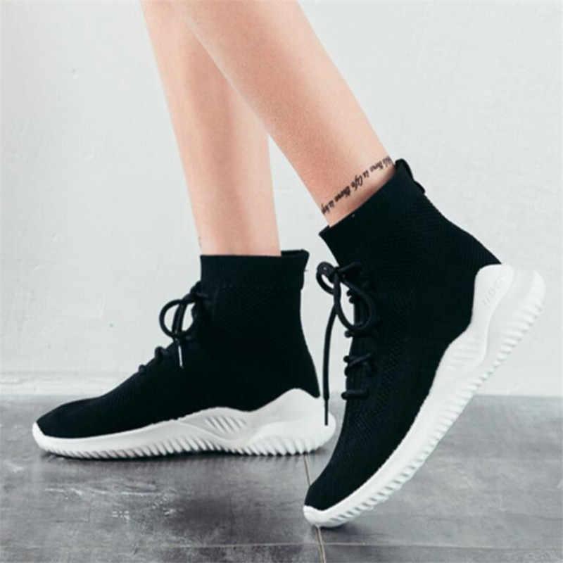 COOTELILI yarım çizmeler Kadınlar Için rahat ayakkabılar Kadın Örgü Sneakers Çizmeler düz ayakkabı Kadın Dantel up