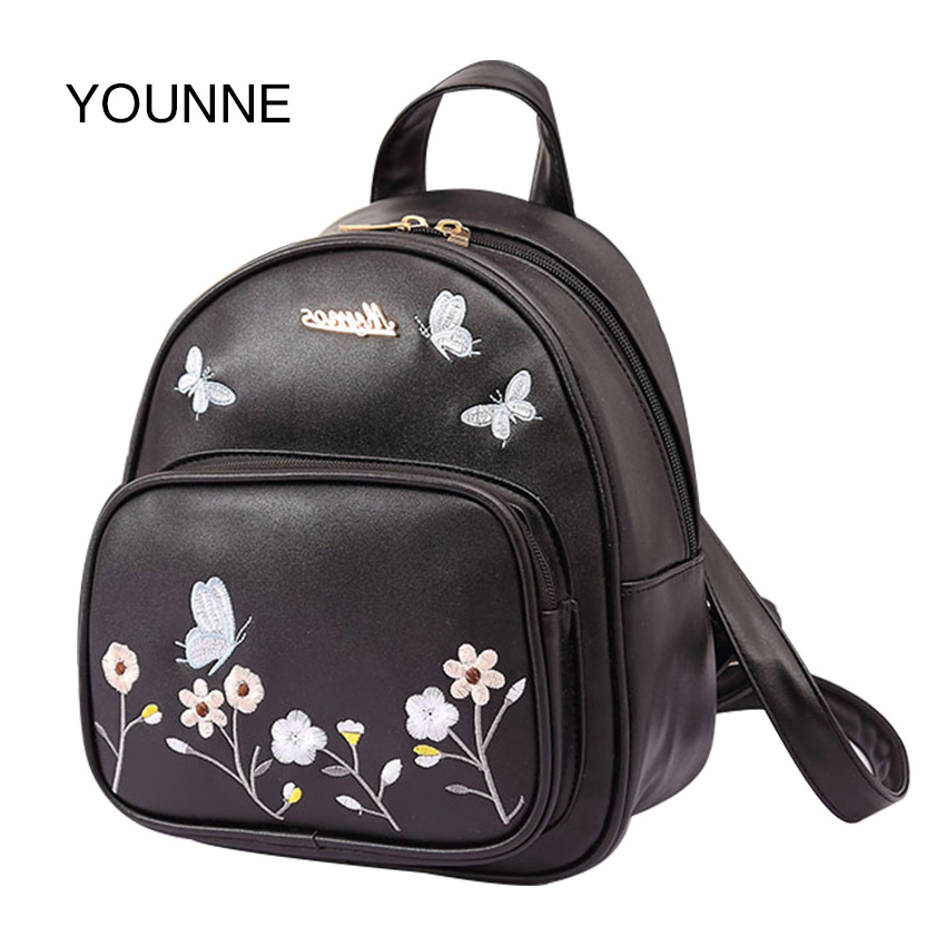 YOUNNE  Women Backpack Leather School Bags Fashion Flower Embroidery Butterfly Shoulder Bag Lady Travel Bag Mochilas For Girls 2017 new embroidery butterfly women backpack school bags for girls brand shoulder bag fashion pu leather ladies travel backpacks