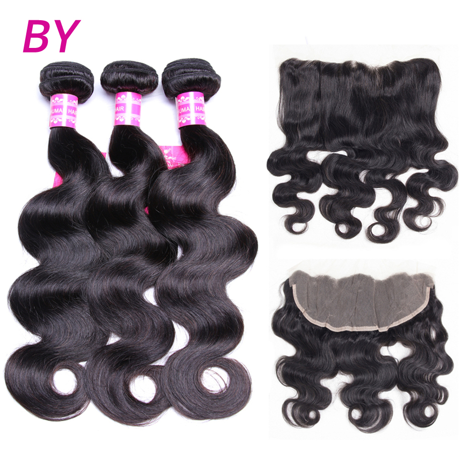 BY Body Wave 3 Bundles With 13x4 Lace Frontal Free Part Non Remy Hair Bundle For