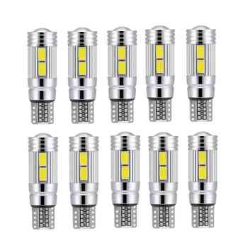 10pcs T10 White 5630 LED 194 W5W 10 SMD Canbus Error Free Car Side Wedge Light Bulb 12V Auto Interior Light  for Car LED Light 1pcs ba9s 12 smd 5630 led canbus lamps error free t4w h6w car led bulbs interior lights car light source parking 12v white