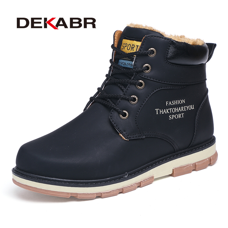 DEKABR Brand Hot Sale Winter Snow Boots High Quality Pu Leather Warm Boots Waterproof Casual Working Shoes Fashion Men Boots 2016 new arrival men winter martin ankle boots pu leather high quality fashion high top shoes snow timbe bota hot sale flat heel