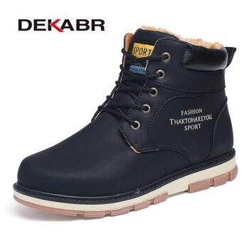 DEKABR Marka Hot Sprzedaż Winter Snow Boots Wysoka Jakość Pu Leather Ciepłe Buty Nieprzemakalne Dorywczo Pracy Buty Moda Mężczyźni Buty