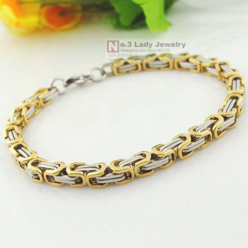 GOKADIMA 22cm, 5,5mm, pro muže Náramky Nerezová ocel Náramek Řetěz Byzantine, Módní šperky cool 2016 WB041