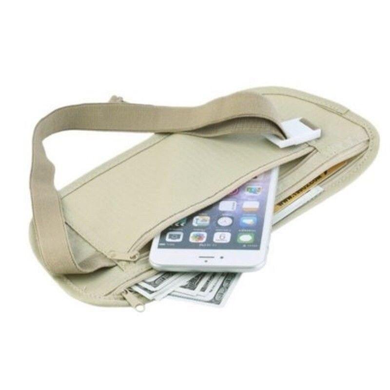 AU Zipper Travel Money Passport ID Card Waist Security Hidden Belt Holder Bag Khaki Black Womens Mens Waist Bags New