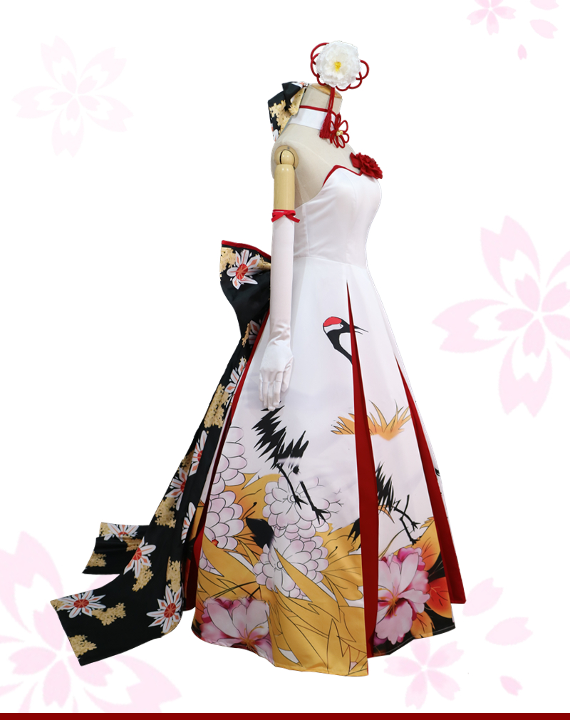 New Clothing Made Anime Fate Saber Red crowned Crane Cos Dress ...