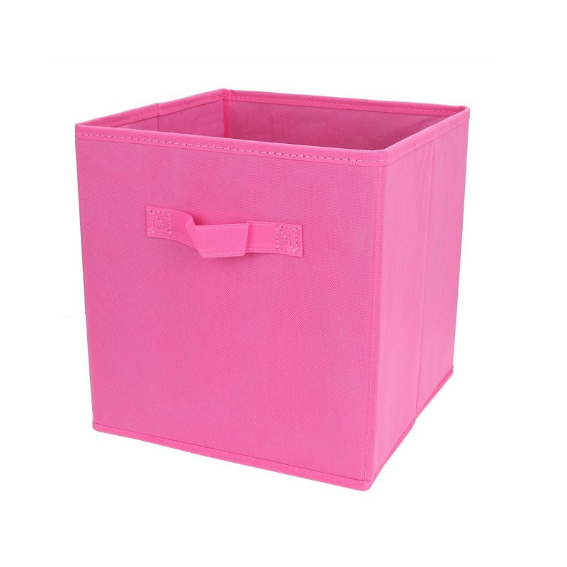 pink fabric cube storage bins foldable premium quality collapsible baskets closet organizer. Black Bedroom Furniture Sets. Home Design Ideas