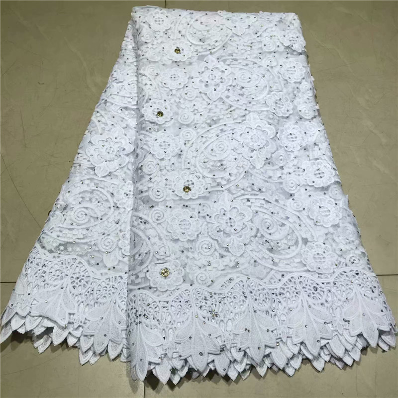 2019 Latest High Quality African Lace Fabric Pure White French Net Embroidery Tulle Lace Fabric For