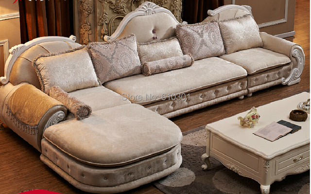 European Style Sofa New Classics French Sofa Designs On Woodwork Fabric Sofa  For Living Room ,
