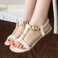 Женщины сандалии 2016 мода новые плоские сандалии женщин Горный Хрусталь женская обувь