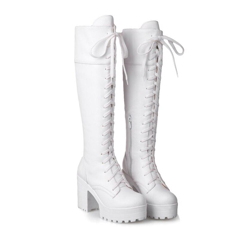 43 Grande forme Genou Carré Taille Dentelle Femme Chaussures Blanc 2018 Haute Bottes Plate Karinluna Femmes Noir Noir Talons 34 blanc Up 51wYISnTq