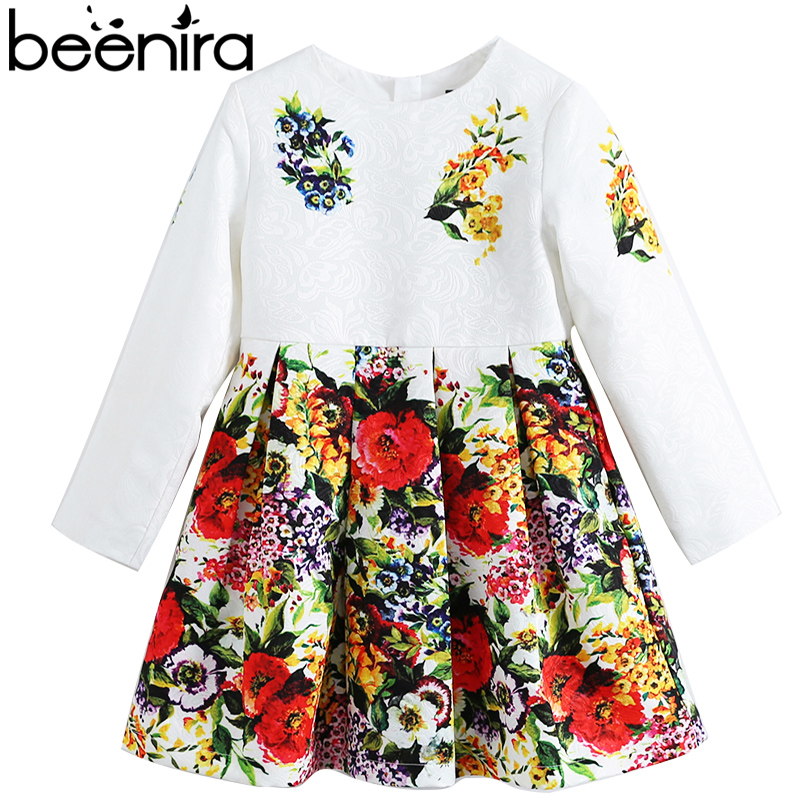 Beenira Children Long-Sleeve Dress 2018 Eeropean And American Style Kids Flore Pattern Autumn Dresses Girls Thicker Dress 14Y new 2017 girls jeans dress kids long style shirt children denim dress virtual edge toddler cotton dresses baby dress 2 14y