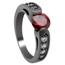 Luxury Red Zircon Rings Multiple Lady Engagement Party Black Gold Color