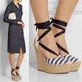Sky-High Dedo Do Pé Fechado Sandálias De Cunha Designer de Alpercatas Tamanho 10 Rendas Até Sapatos De Salto Alto com Tira No Tornozelo Senhoras Sapatos de Plataforma mulheres Cunhas