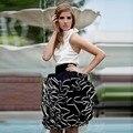 Потрясающие Сшитое Оборками Юбка Широкая Талия Выше Колена Паффи Бальное платье Юбка Старинные Черный Белый Юбки Женщин