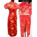 Red Chinese Women's Satin Polyester Cheong-sam Long Qipao Dress Flower S M L XL XXL XXXL4XL 5XL 6XL J3406