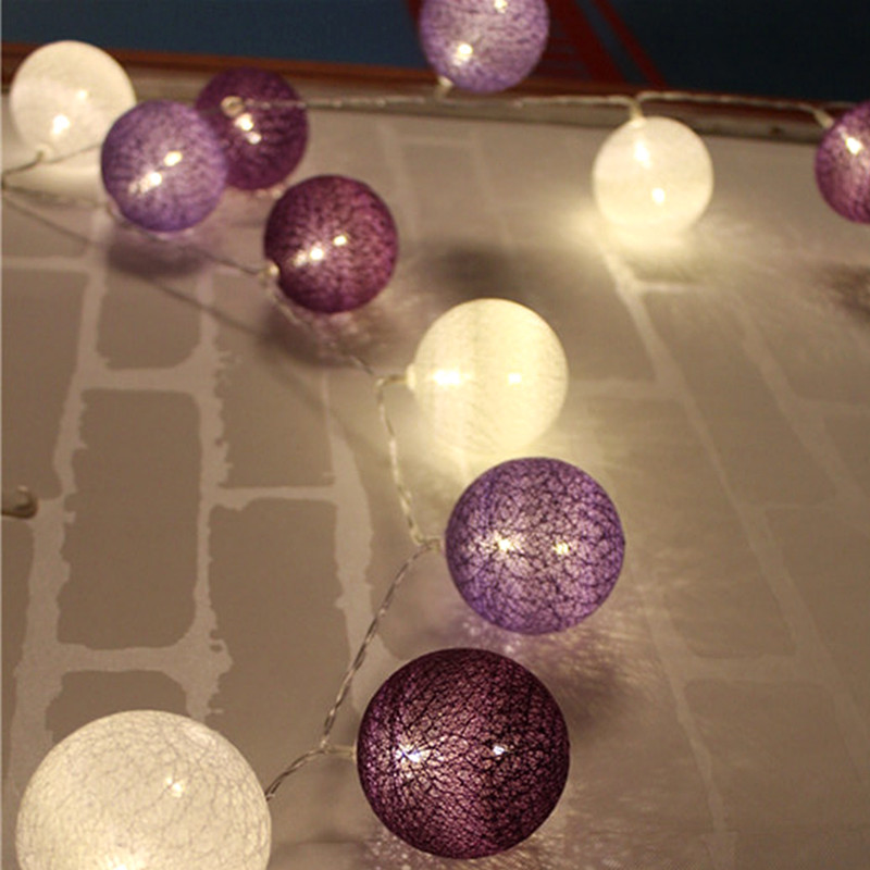 Lavender Color Series Cotton BALL String Light For Xmas Feast Table Ornament Light Lamp 3M Led Strip Home Bedroom Decor Garlands
