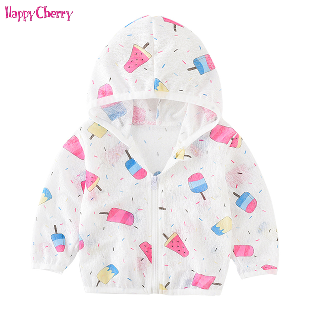 6310f17bb Kids UV Sun Protection Clothing Summer Baby Hooded Breathable Sunscreen  Jacket for Girl Boy Cartoon Printing