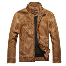 Leren Jas Mannen Winter Casual Windjack Jassen Solid Fleece Uitloper Motorfiets Jas Plus Size Warm Chaqueta Cuero Hombre L(China)
