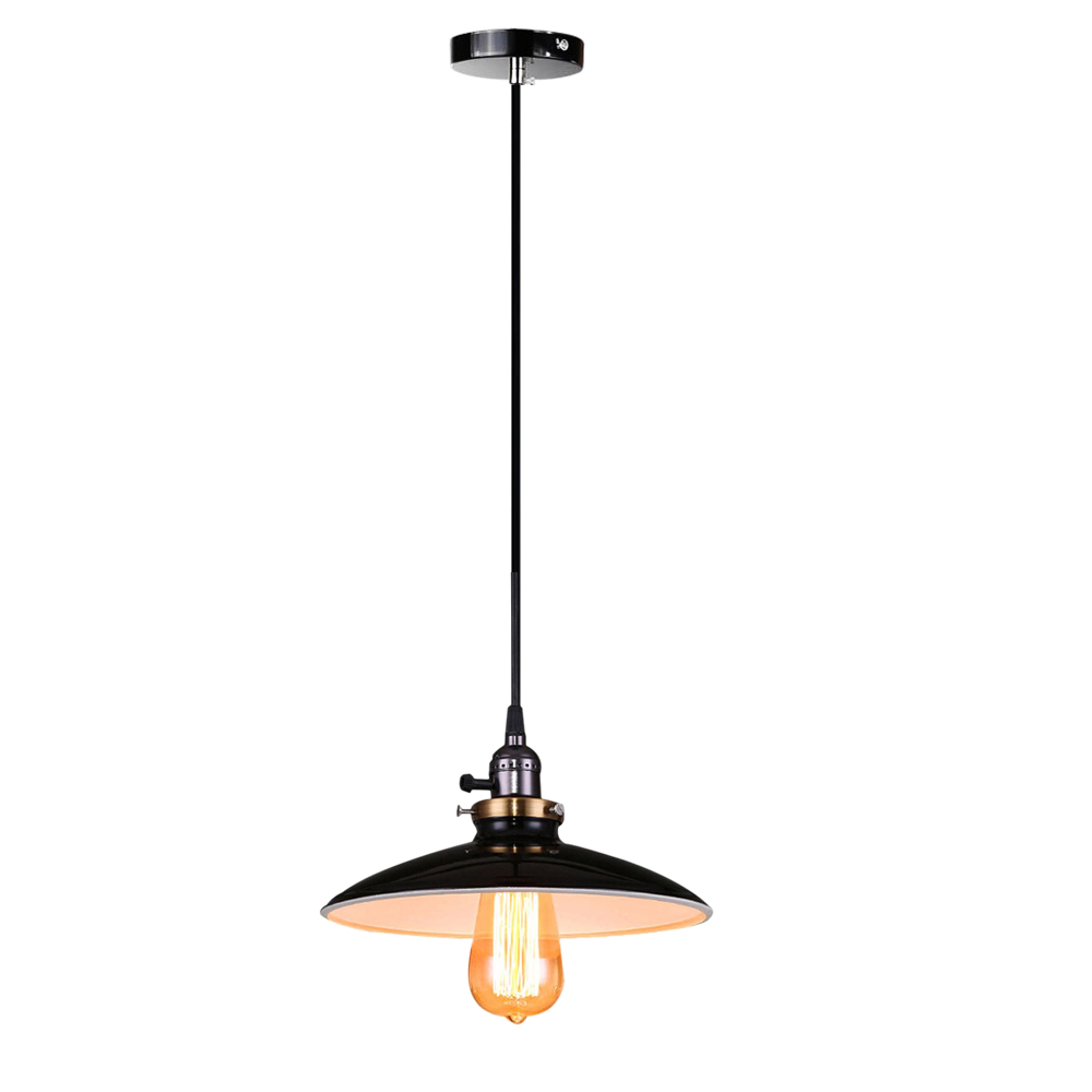 Retro Industrial Edison Simplicity Chandelier Vintage Ceiling Lamp Pendant lamp with Shining Metal Style Shade (Black) edison chandelier vintage d220mm e27 black finished iron shade industrial pendant lamp ac110 240v with brass finished socket