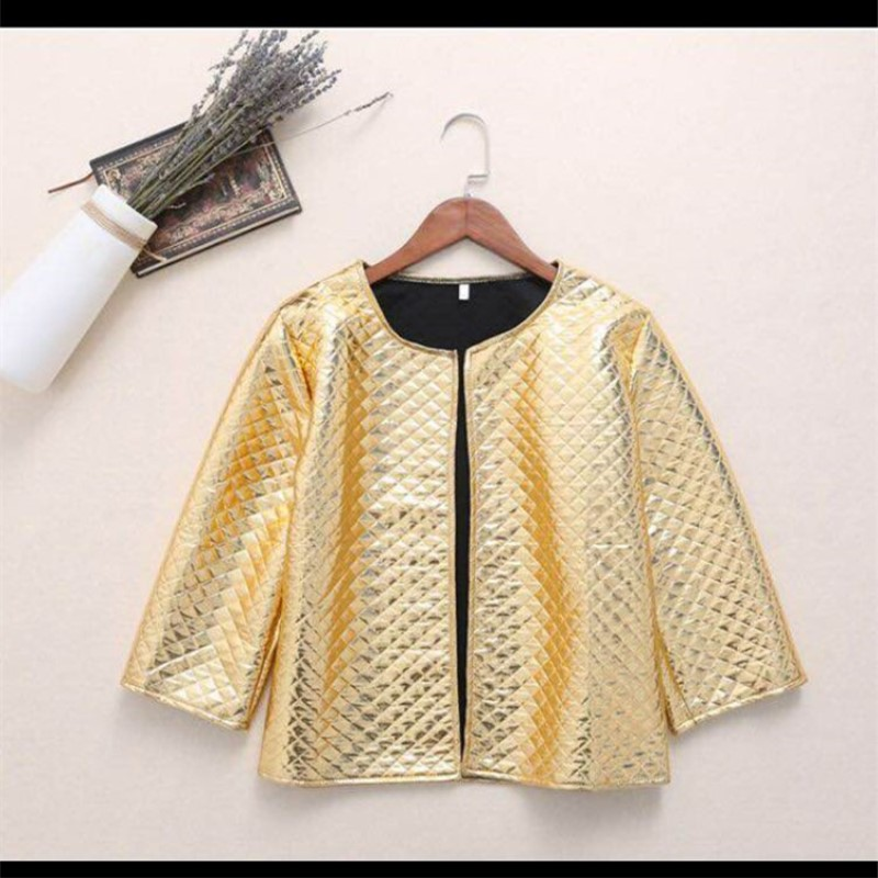 O-neck autumn ladies jackets outerwear womens coats and jackets casual women bomber jackets XXL silver cardigan ladies clothe