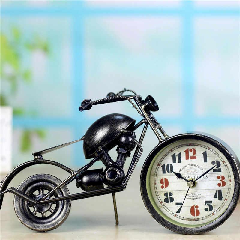 Бронзовый мотоциклетные часы европейская железные часы для дети детский велосипед Настольный будильник часы художественное украшение для дома
