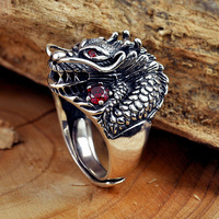 Pure 925 Sterling Silver Ring Thai Silver Powerful Dragon Head With Red Garnet For Men Ring Vintage Fashion Jewelry Best Gifts
