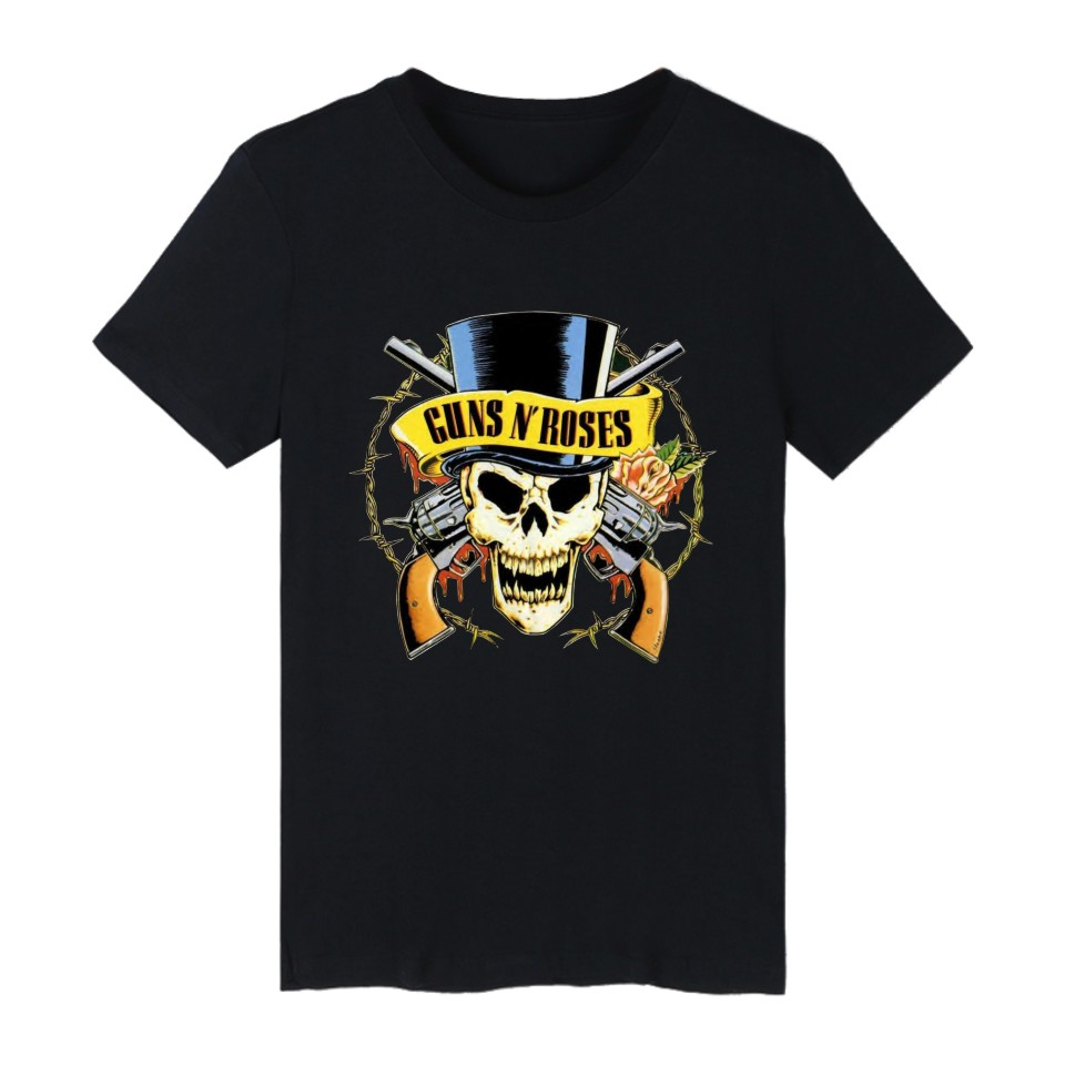 Gildan GUNS N ROSES White T-shirt Men America Music Team Cotton Men 4xl Hard Rock Short Sleeve Tee Shirt Men Brand Hip Hop