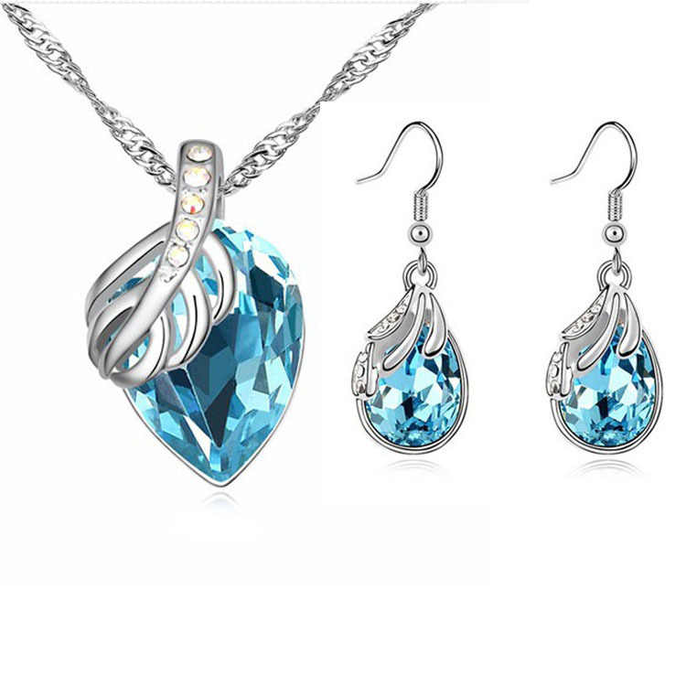Wholesale Austrian Crystal Water Drop Leaves Earrings Necklace Jewelry sets Classic Wedding Anniversary Gift For Women