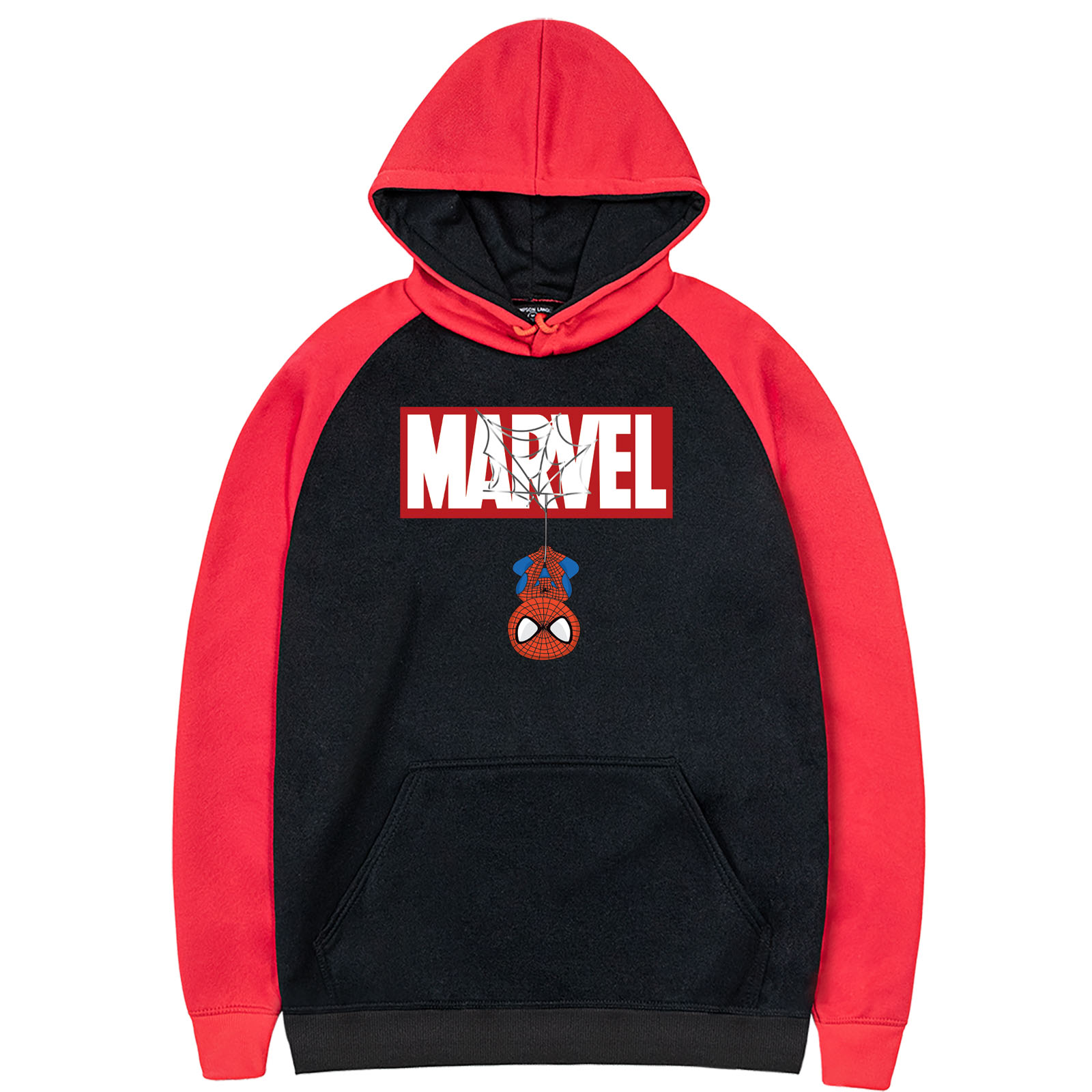 2019 New Arrival MARVEL Printed Fashion Design Spider Man Hero Raglam Hoodies Fleece Warm Cute Hoodie Red Hooded Male Sportswear