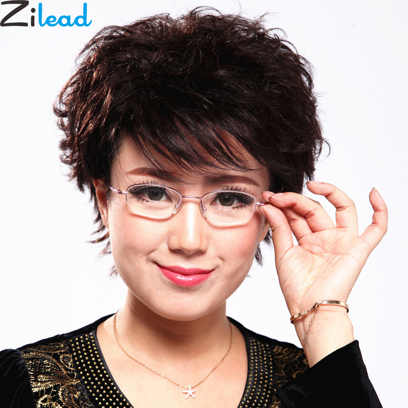 Zilead Comfy Ultralight Half Frame Pink Women Reading Glasses Metal HD Presbyopia Eyewear For Female+1.0+1.5+2.0+2.5+3.0+3.5+4.0
