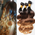 Bele Virgin Brazilian Ombre Virgin Hair Extensions 1b/4/27 1 Bundlles Lot Three Tone Color Julia Brazilian Ombre Virgin Hair