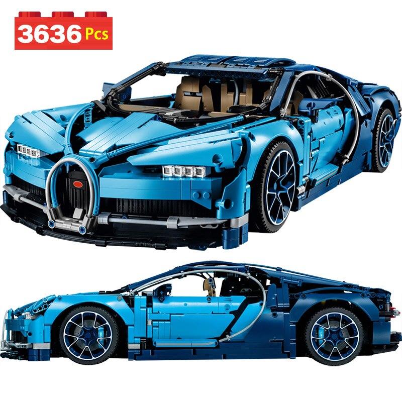 Роскошные создатель Совместимость Legoingly техника BugattiED Хирон Technik серии 38036 блоков Хирон синий гоночный автомобиль Кирпичи Детские игрушки