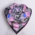 Новый Бренд Черный Шелковый Шарф Кондиционер Шали Шарфы Для Женщин 100% Шелк Тутового Саржа Squre ScarvesFor Весна Осень