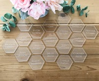 Personalize Wedding Guest Clear Acrylic Hexagon Escort Place Cards,Custom Wedding Table Decor,Wedding name place card for guests
