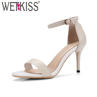 WETKISS High Heels Women Sandals Open Toe Cow Leather Thin Heels Footwear 2018 New Buckle Ladies