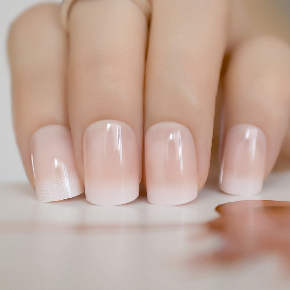 Beige Gradient French Manicure Tips Gorgeous And Classy Natural