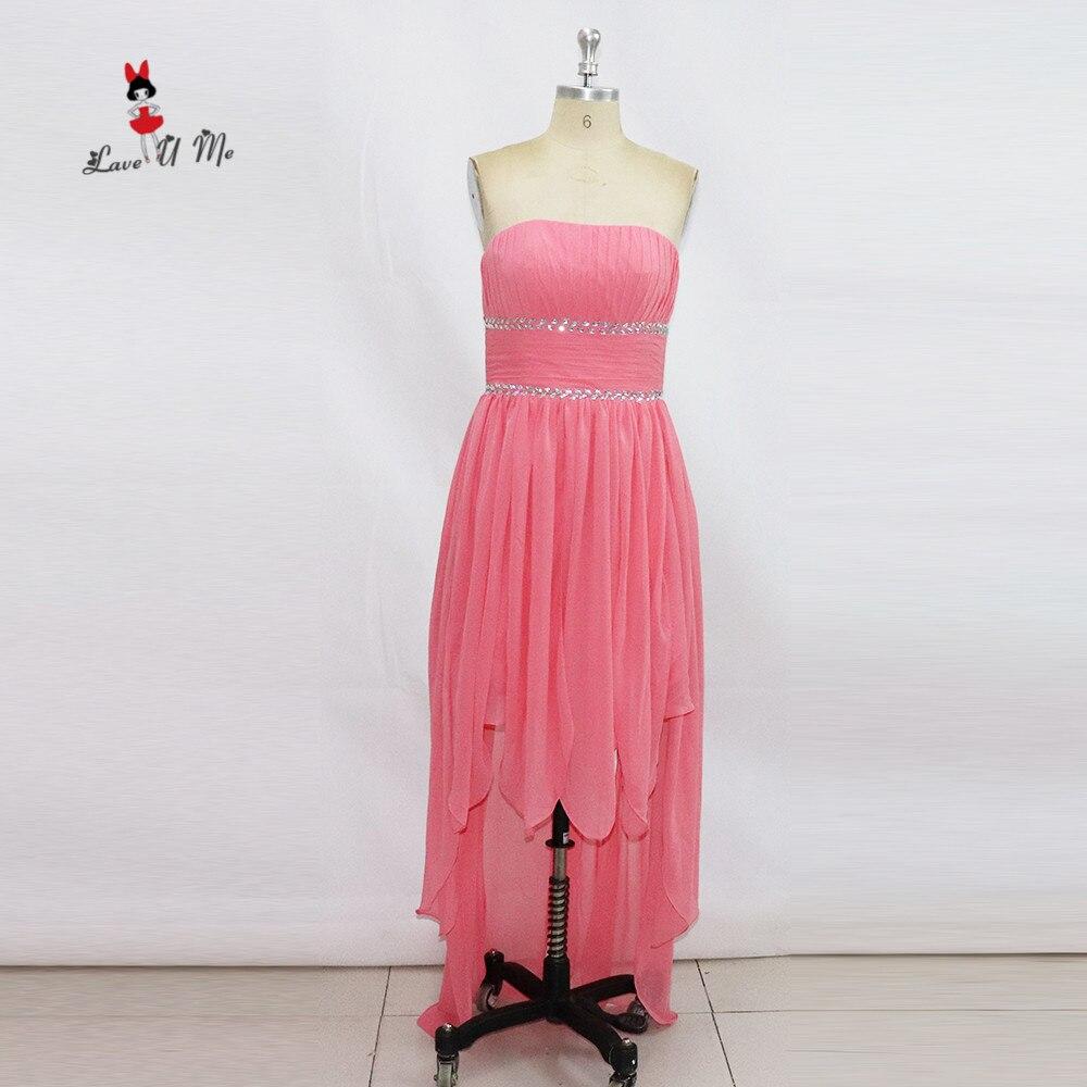 Compra alto bajo púrpura vestido de dama de honor online al ...