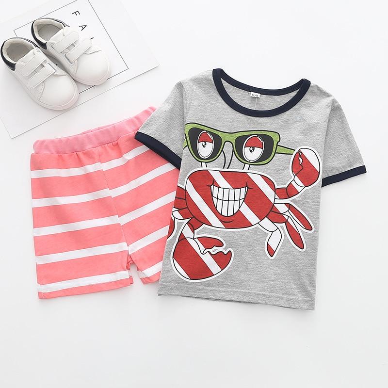 Funfeliz Children Tracksuits Summer Boys Sports Suit Short Sleeve T-shirt Shorts Kids Clothes Cotton Casual Boy Clothing Set