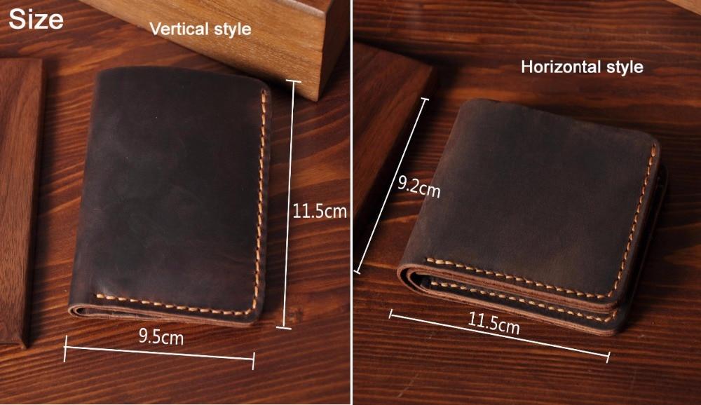 Image 3 - Handmade Vintage Crazy horse Genuine Leather Wallet Men Wallet Leather engrave Short Wallet Men Purse Male Money Clips Money bagmoney bagmale pursemen purse -