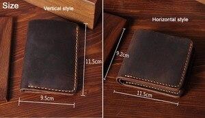 Image 3 - Handmade Vintage Crazy horse Genuine Leather Wallet Men Wallet Leather engrave Short Wallet Men Purse Male Money Clips Money bag