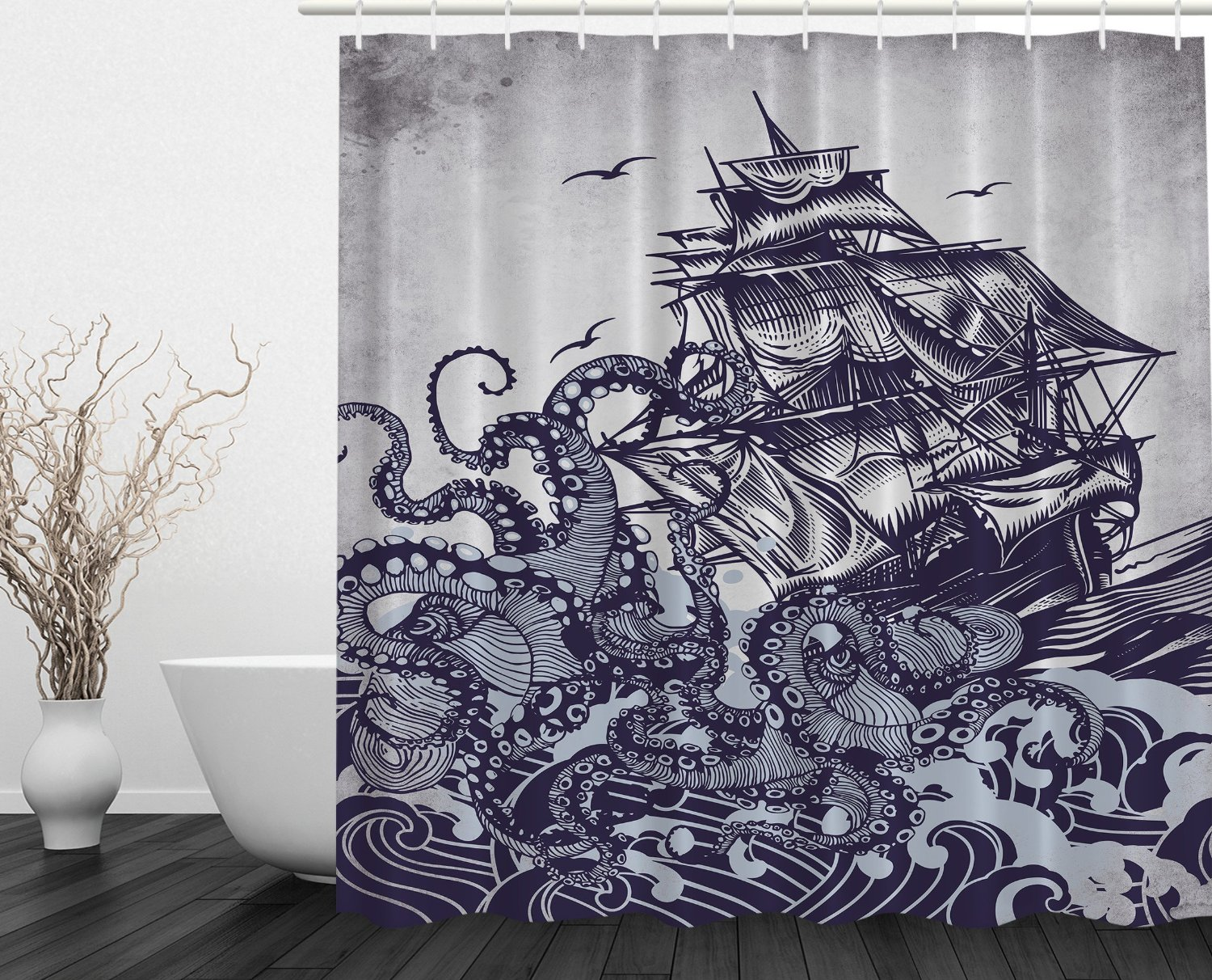 Sail Boat Waves and Octopus Old Look Home Textile European Style ...