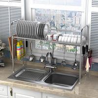 H Multi use Stainless Steel Dishes Rack Stready Sink Drain Rack Kitchen Oragnizer Rack Storage Rack Dish Shelf Strong Bearing