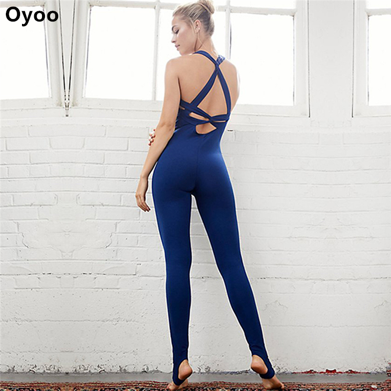 Oyoo stirrup yoga pants bras backless yoga jumpsuit sports wear womens fitness tights leggings elastic tracksuit Outfit