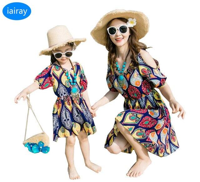 d7295a4cadfb14c Iairay/мать и дочка платья с открытыми плечами богемное платье для девочек  семья Посмотрите Лето