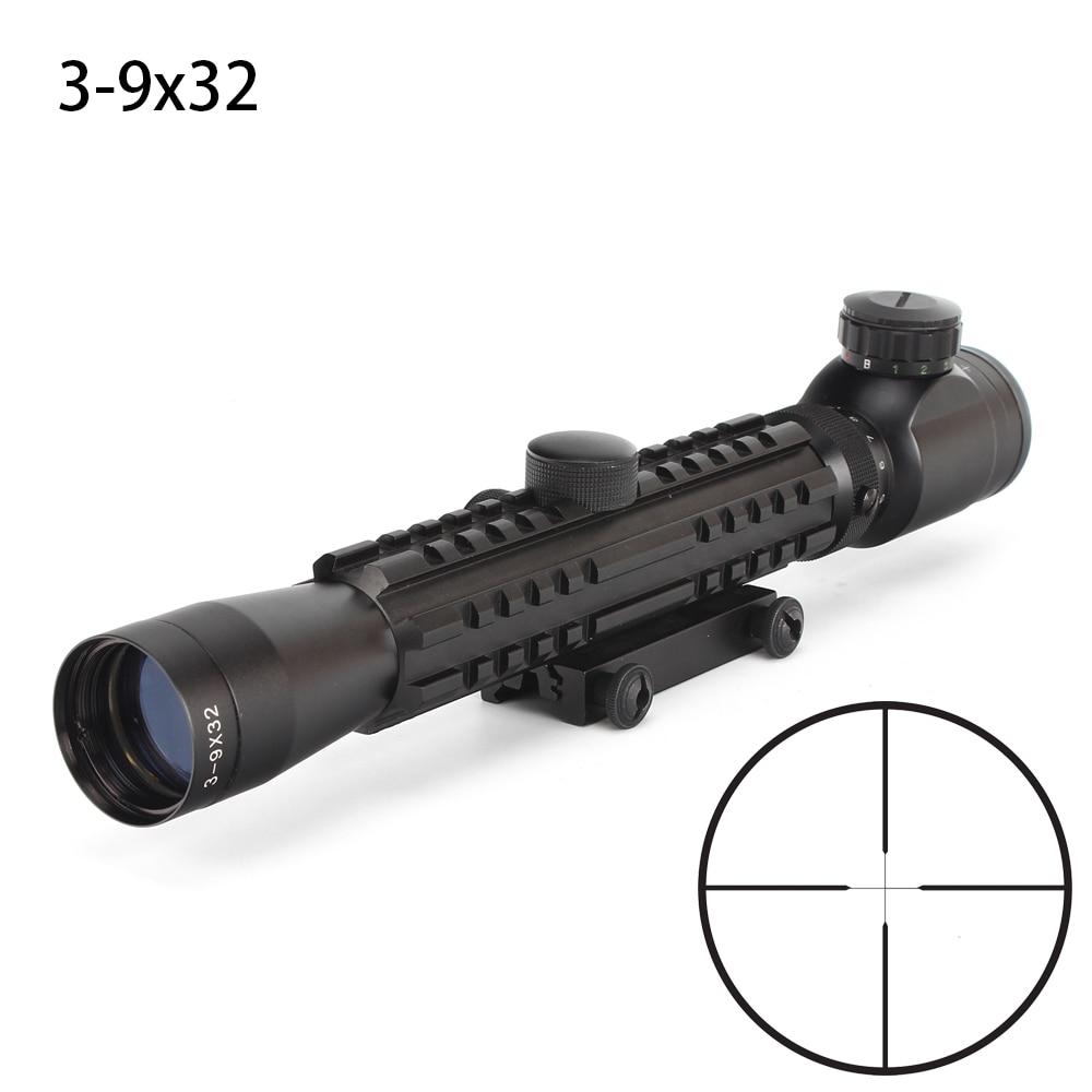 Hunting 3 9X32 Scope Shooting Riflescopes Dull Polish Finish Fine Illuminated Duplex Reticle Optical Sight Tri Rail Rifle Scope