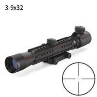 Hunting 3 9X32 Scope Shooting Riflescopes Dull Polish Finish Fine Illuminated Duplex Reticle Optical Sight Tri Rail Rifle Scope
