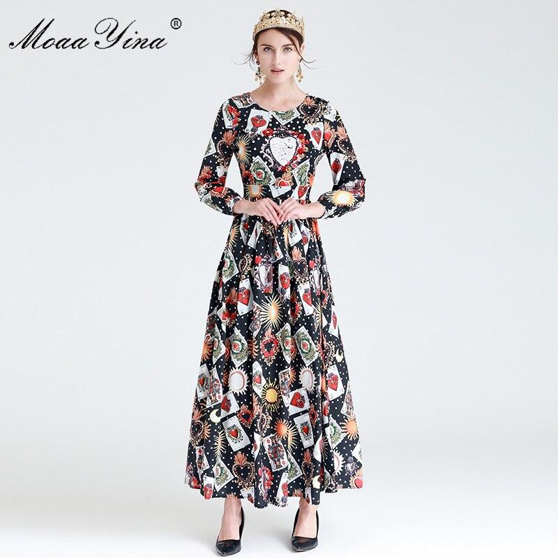 MoaaYina Fashion Designer Runway Maxi Dress Spring Women Long sleeve Playing cards Sequins Beaded Retro Noble Elegant Dress