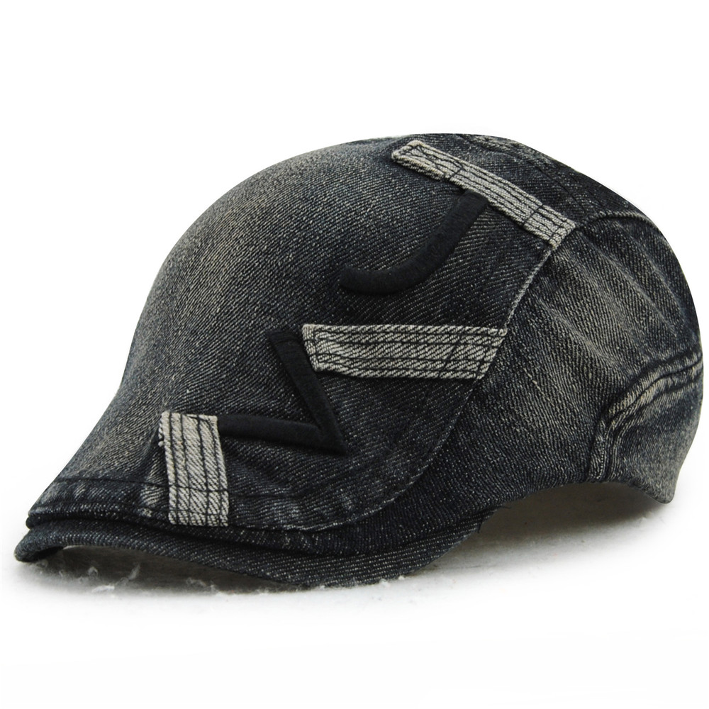Vintage Unisex Beret Hats Denim Duckbill Casquette Boina Buckle Visors Golf Driving Flat Detective Hat Casquette Newsboy Cap