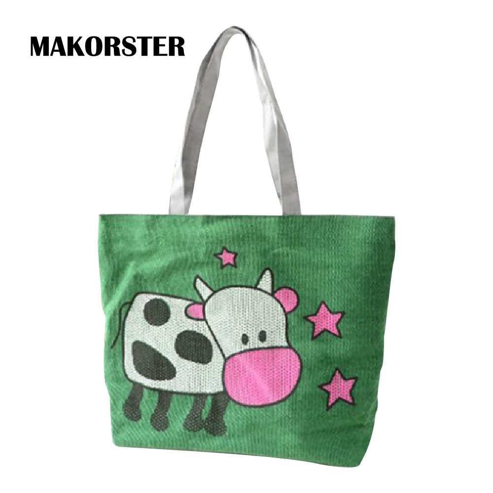 MAKORSTER Women Beach Bag Casual Tote Shoulder Bags Canvas Cute Cows Green Handbag Handbags Women Bag Designer SMT095 aosbos fashion portable insulated canvas lunch bag thermal food picnic lunch bags for women kids men cooler lunch box bag tote